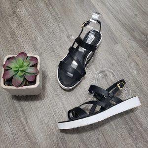 Steve Madden Black Leather Strappy Sandals Sz 38